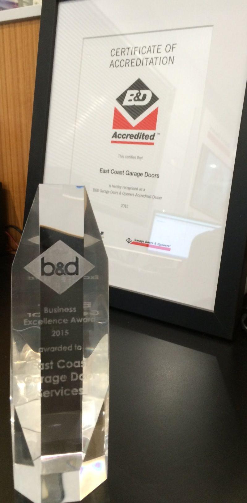 B d accredited dealer award won by east coast garage doors for Idea accredited door dealer